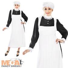 Victorian Maid Femmes Fancy Dress Costume Outfit + Mop Cap UK 10 12 14