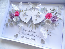 Handmade Personalised Card,Engagement, Any Anniversary, Wedding Day 3D Box