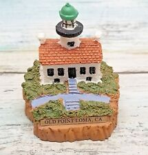 Vtg Miniature Lighthouse Figurine Old Point Loma, Ca - Resin Brass Name Plate