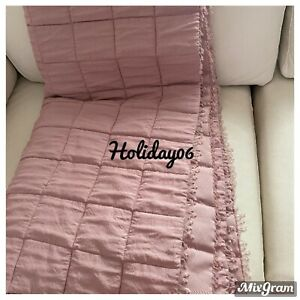 """Laura Ashley Chalk Pink Mia Quilted Throw Bed Spread Approx 80""""x80"""" 200cmx200cm"""