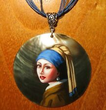 Vermeer pendant Girl with a Pearl Earring hand painted SHELL signed reproduction