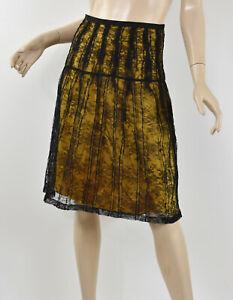 ETRO Milano Black Lace Overlay Ochre Mustard Silk Pintucked A-Line Skirt 40 S 4