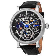 Men's Akribos XXIV AK745SSB Mechanical Skeleton AM/PM Black Leather Strap Watch