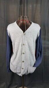 Men's Pierre Balmain Cardigan Color Block Red Blue Gray Jumper Sweater Sz 40/54
