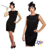 Black Flapper Dress Costume - Fancy Dress Charleston Fringed 20's Gatsby