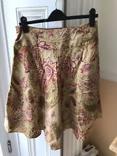 SK07992- RALPH LAUREN Woman 100% Linen Flared A-Line Skirt Pockets Floral Sz 4