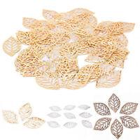 Wholesale 50Pcs Leaves Filigree Metal Pendant Crafts Jewelry DIY Accessories