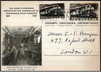 Switzerland 1947 Anniversary Swiss Railway Preprinted Postcard + Stamp - London