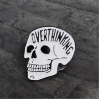 OVERTHINKING Creative Gothic Skull Enamel Brooch Lapel Denim Jacket Pin Badge