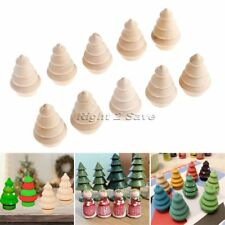 10pcs Unpainted Blank Wooden Peg Dolls Christmas Tree Craft DIY Creative Kid Toy