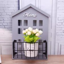Wooden Shelf House Wall Storage Basket Iron Planting Holder Hanging Home Decors