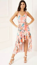 NEW🌷LIPSY@NEXT🌷Size 10 Ashley Coral Floral Cami Ruffle Hem High Low Midi Dress