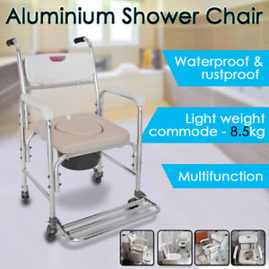 Mobile Shower Toilet Bathroom Commode Chair Bedside Footrest Aluminum Wheelchair