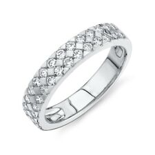 4 MM Womens 14K White Gold Round Diamond Wedding Band 2 Row Ring Size 7 Natural