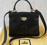 FENDI Vintage Convertible Black Leather Top Handle Crossbody Mini Bag