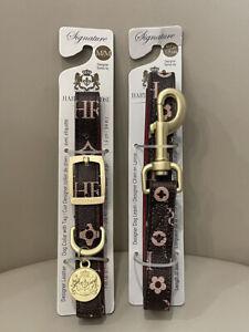 21) New Hartman & Rose Dog Collar & Leash SET Canadian Designer Leather Medium