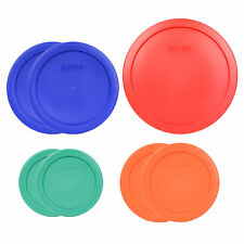 Pyrex 7202-PC Green 7200-PC Orange 7201-PC Blue 7402-PC Red 7PC Plastic Lids