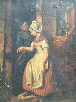 Belle Peinture Hst Huile Sur Toile Soldat Romantique Guerre 1870 XIXe