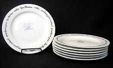 Pottery Barn BAR LINGO Appetizer Salad Cake Plates Set of 7 - EUC