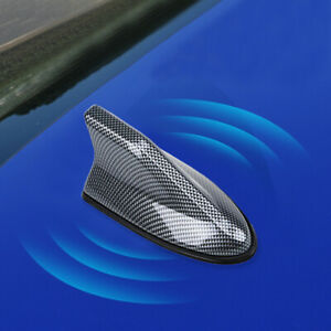 Car Carbon Fiber Shark Fin Roof Antenna Radio AM /FM Signal Aerial Waterproof y
