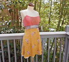 FREE PEOPLE Metallic Studded Metal Dress Floral 8 S/M