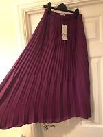 Zara Purple Berry Floaty Pleated Midi Skirt Size XS New