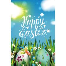"Happy Easter Colored Eggs Mini Garden Flag House Yard Banner Decor Flags 12x18"""