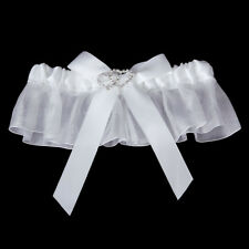 Jarretiere Mariage Dentelle Double Coeur Strass Noeud Blanc NEUF T36-38-40-42