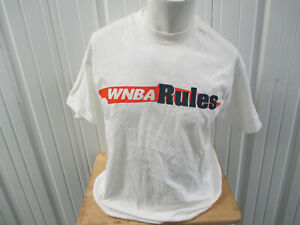 VINTAGE WNBA X CHAMPION WNBA RULES KICK BUTT LARGE WHITE T-SHIRT PREOWNED 90s