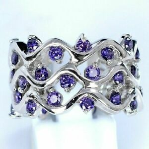 Fashion 925 Silver Amethyst Rings Women Wedding Engagement  Jewelry Gift Sz 6-10