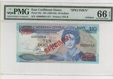 1985-93  EAST CARIBBEAN STATES (ANTIGUA) 10 DOLLAR SPECIMEN  PMG66