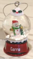 Personalized Snow Globe Ornament - Carrie - FREE Shipping