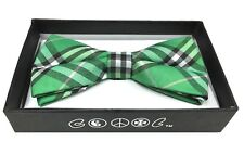 Green Stripe Men Women Bowtie Classic Clip-On Neck-wear Tuxedo Adjustable