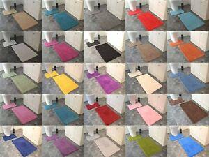New Plain Soft Bath Mats Washable Rubber Backed Set 2 Piece Toilet Rugs Cheap