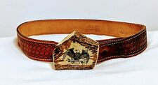 "Chambers Belt Co Arizona Tooled Leather Belt 34"" Forest Animals w/ Eagle Buckle"