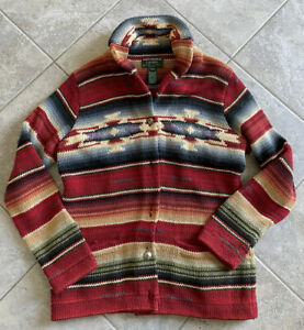 Hand Knit Ralph Lauren Aztec Indian Southwestern Serape Concha Sweater Petite