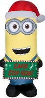 CHRISTMAS 5 FT MINIONS KEVIN SANTA STOP HERE SIGN AIRBLOWN INFLATABLE YARD GEMMY