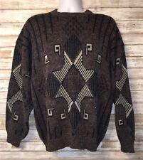 Tribal Sweater Men's Brown Medium Knit Aztec