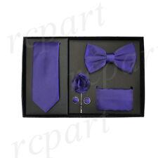 lapel pin 5 pc Gift Set Purple New in box Men's necktie bowtie hankie cufflinks