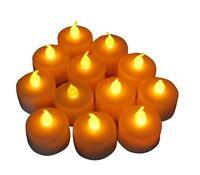 Flickering Led Tea Light Candles Amber 12Pcs Flameless Wedding Party Patio Decor