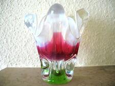 Blockvase/Vase, Kristallg-grün-rot-perlmutt-40-50 Jahre.18 cm. hoch.1520  Gramm.