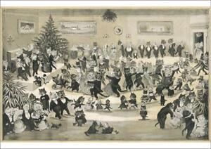 4369684 A1 (84x59cm) Poster of A Cats Christmas Dance by Louis Wain
