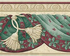 Victorian Swag Draping & Leaf - Burgundy Ivory - ONLY $6 - Wallpaper Border B010