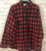 Time Tru womens XL fleece button shirt jacket black red buffalo plaid new E9