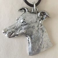 SALE: Large Greyhound Whippet Dog Head Necklace. Antique Silver