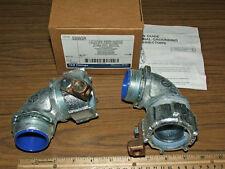 "1-1/2"" 90 Degree Liquidtight Conduit Connectors Insulated Malleable Iron Grd Lug"