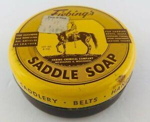 Vintage Fiebing's Saddle Soap Tin Can 8 oz. Horse Farm Milwaukee Wisconsin USA