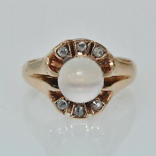 Antique Victorian 10k Rose Gold Claw Set Moonstone Rose Cut Diamond Estate Ring