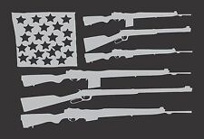 Silver Gray Flag Guns USA -  Die Cut Vinyl Window Decal/Sticker for Car/Truck