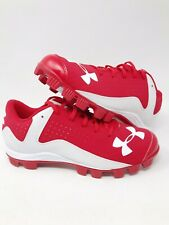 NEW Under Armour UA Leadoff Mens Baseball Cleats Red/White 1297317 611 Size 10.5